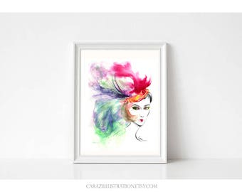 Feather Purity. Print from original abstract color ink and watercolor illustration by Cara