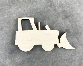 Wood Tractor Laser Cut Shape, Wooden Tractor, Front End Loader, Tractor Nursery Decor, DIY Craft Supply, Many Sizes And Shapes, Party Decor