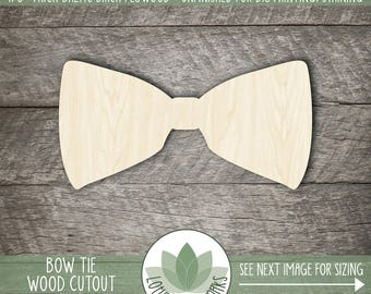 Bowtie Wood Cut Shape, Unfinished Wood Bowtie Laser Cut Shape, DIY Craft Supply, Many Size Options