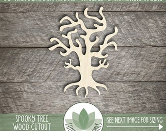 Spooky Halloween Tree, Wood Laser Cut Shape, DIY Halloween Decor, Many Size Options, Wood Cut Halloween Shapes, DIY Crafting Supply