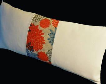 Lumbar Pillows.Slipcovers.Floral Burlap Pillow Cover.Toss Pillows.Home decor Pillows.FLORAL.Burlap.Cotton Pillows.Country.Beach.Cottage.Farm