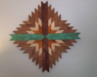 Geometric wall hanging, Wood wall decor, barn wood decor, farmhouse decor,  geometric decor, navajo inspired decor, Reclaimed wood wall art