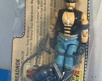 GI JOE HASBRO vintage action figure original 100% complete loose with weapons accessories file card Cobra dreadnok 1985 Torch flame thrower