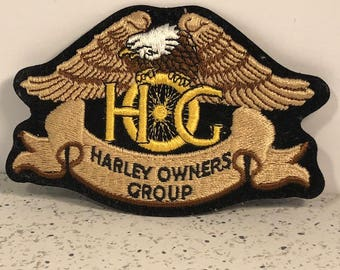 HARLEY DAVIDSON PATCH rare vintage motorcycle memorabilia jacket coat emblem Owners Group Hog eagle black brown yellow gold usa