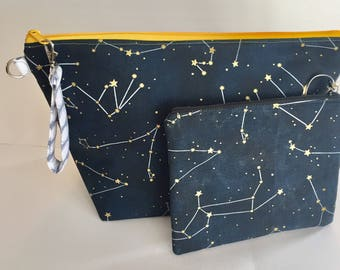Constellation knit/crochet project bag