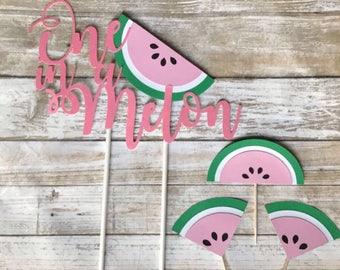 "Watermelon ""One in a Melon"" Cake Topper & 24 Cupcake Toppers"