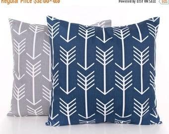 SALE ENDS SOON Arrow Throw Pillow Covers, Navy and Gray Throw Pillow Covers, Set of 2, Nursery Pillows, Baby Pillows, Kids Room Decor, Arrow