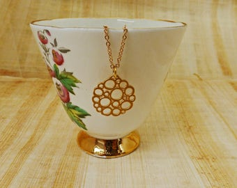 Gold Bubble Pendant Necklace