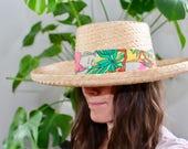 Vintage Sombreros Hat by, Hernandez G. San Luis R.C. Son,  Straw Sun Hat, Tropical, Flamingos, Florida, Tropics,
