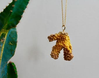 Stabilized Mustard Yellow Sea Coral, Gold Leafed ends in 24K,  Necklace on a 24k Gold Plated Chain, gift for her, beach jewelry, boho,
