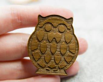 lasercut wood owl brooch, geometric owl pin, lasercut maple wood pin, handmade retro inspired owl pin brooch, owl jewelry accessory