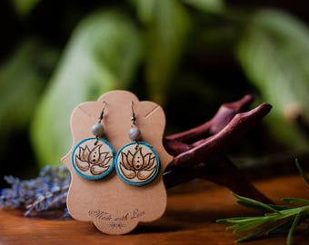 Labradorite and Lotus Pyrography Earrings