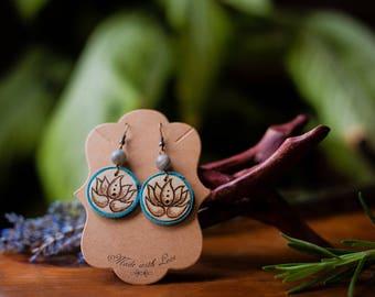 Labradorite and Lotus Pyrography Earrings