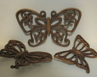 HOMCO 7537 Brown Butterfly Wall Plaques