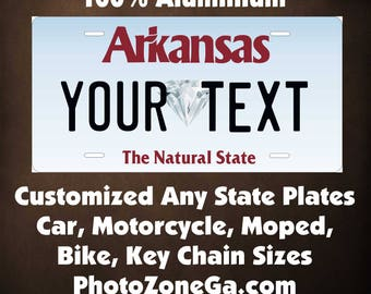 Arkansas 1944 to Current Custom Personalized Novelty Auto Motorcycle Moped Bike Key Chain License Plate