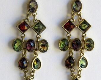Gold tone multi color chandelier earrings