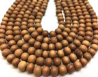8mm 15 Inch strand - 54 beads- Pure Natural Untreated Sandalwood Beads, Sandalwood, Sandalwood strand, Upolished Sandalwood Beads