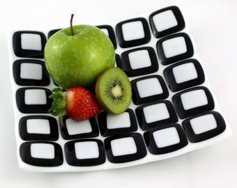 White and Black Glass Mosaic Plate