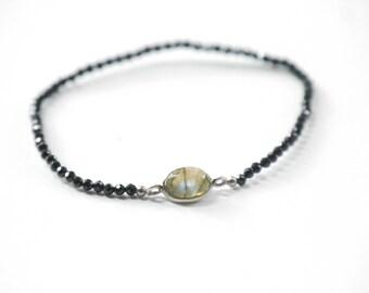 BLACK spinel Bracelet GEMSTONE LEBRADORITE Gemstone gemstone minimalist Bracelet
