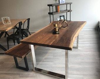 "Handmade Walnut Wood Dining Table/ Work Desk 60""Lx36""Wx30""H Live edge"