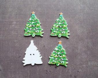 buttons 10 wood holiday Christmas tree green ball and Garland