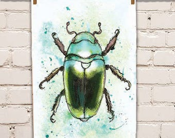 Green Beetle Tea Towel