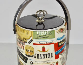 Vinyl ice bucket,liquor logos,whiskey gin names,black lid,handle,brand names,unusual ice bucket,bar cart,bar decor,unique ice bucket