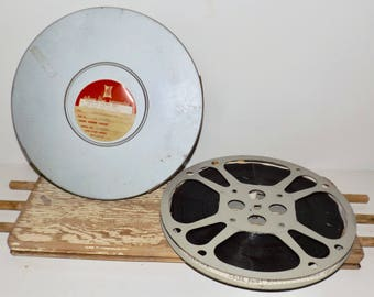 """16 mm film reel and canister,Goldberg film reel,12"""" film reel,Motion Picture Enterprise canister,hollywood decor,old movie reel,movie prop"""