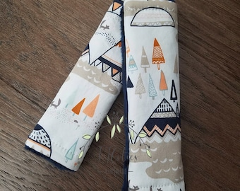 Baby car seat strap Cover Tribal-car seat neck strap-stroller seat straps-reversible seat strap-infant car seat strap-Teepee car seat strap