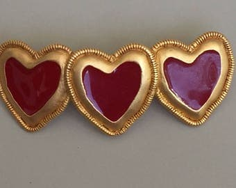 Lovely Vintage Hair Clip Barrette With Hearts