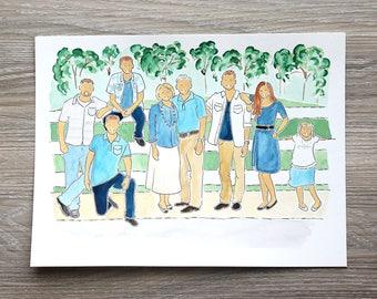 Custom 7-10 Person (+BACKGROUND) Watercolor Portrait