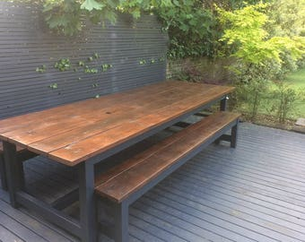 The Rustic Patio Table with integral Ice Buckets/dining table/garden table/garden furniture