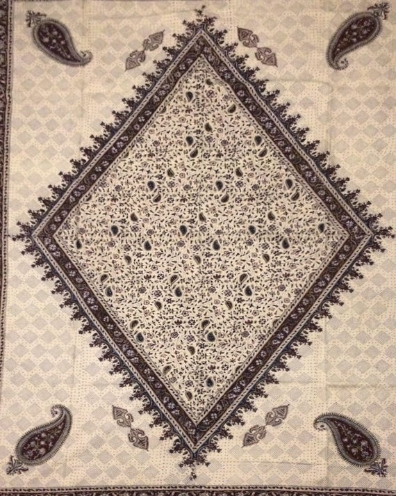 Oriental Table cloth, paisley design, block printed fabric - Tapestry or bedspread - Hand Dyed