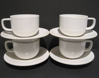 Mid Century Sasaki Japan White Colorstone 4 Cups 4 Saucers Vignelli Design