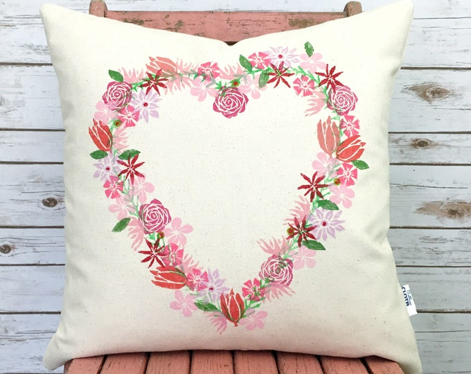 organic canvas heart wreath pillow cover - pinks.  Ready to ship.