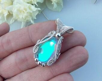 aura quartz pendant, wire wrapped jewelry, handmade jewelry, wire wrap, silver wrap, boho jewelry, artisan jewelry, Melissa Wood Jewelry