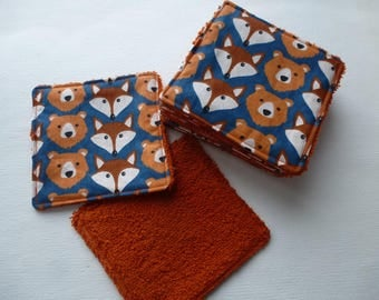 set of 10 wipes washable Fox and bear
