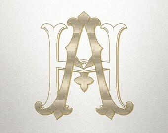 Wedding Monogram Logo - AH HA - Monogram Logo - Digital