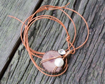 Handmade Reclaimed/Salvaged Wood, Wire, Pearl & Rhinestone Pendant Necklace Brown Leather Cord eco friendly boho unique OOAK live bark edge