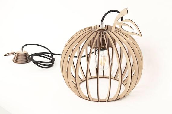 Wooden pendant light Brown wooden lamp Cherry shape