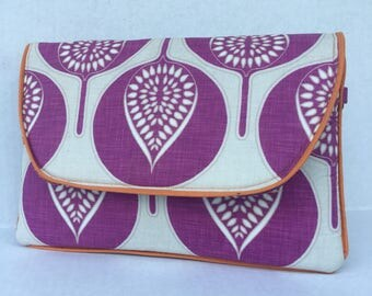 Fuschia Tree Blossom Graphic Print Clutch Bag and iPad Kindle Tablet Case with Orange Piping Accent & Pale Aqua Lining and Removable Strap