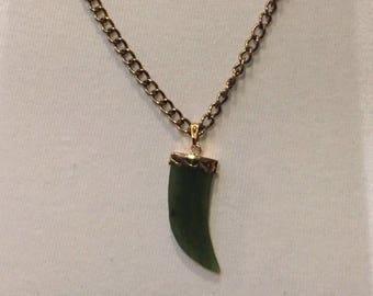 Vintage Jade Horn Necklace