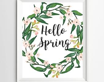 Hello Spring print printable posterWelcome Spring Printable Spring Decor Art Spring Art Print welcome flower print garden print art