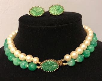 VINTAGE JOMAZ Demi-Parure, Faux Pearl and Green PEKING Glass Beads, Pierced Jade, Molded Glass Clasp and Earrings, Beautiful Choker