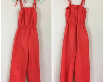 Vintage 1970s Wide Leg Jumpsuit - 60s 70s Bright Red Wide Leg One Piece - Size Medium