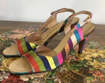 Summer Start Sale Vintage 1960s DeLisso Slingback Heels - Rainbow 50s 60s Sandals Pumps-  Size 8.5 Narrow