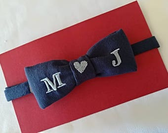 Bowtie with embroidered initial