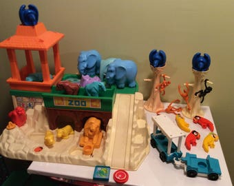 Vintage Fisher Price Little People Large Lot of Animals Zoo Adventure With Blue Trailor Cars Monkeys Trees Hippos Lions Birds Elephants