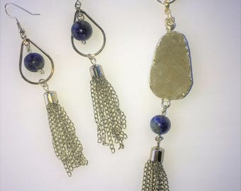 Quartz Druzy and Lapis Lazul Necklace and Earring