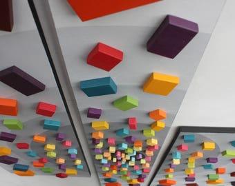 Wood Wall Art | Triptych | Wall Art | ' Vortex' | Contemporary Art |